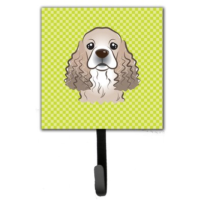 Checkerboard Cocker Spaniel Leash Holder and Wall Hook