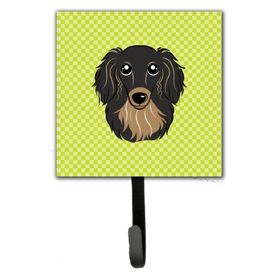Checkerboard Longhair and Dachshund Leash Holder and Wall Hook