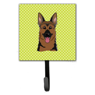 Checkerboard German Shepherd Leash Holder and Wall Hook