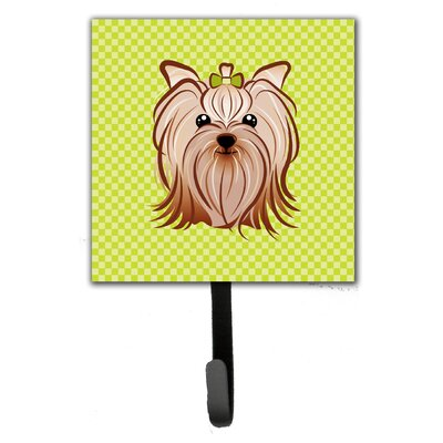 Checkerboard Yorkie Yorkishire Terrier Leash Holder and Wall Hook