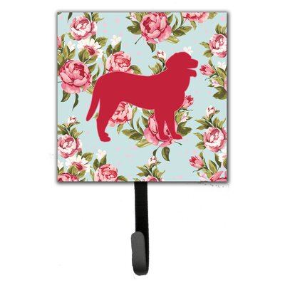 Curly Coated Retriever Shabby Elegance Blue Roses Leash Holder and Wall Hook