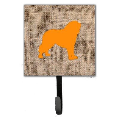 Tibetial Mastiff Burlap and Orange Leash Holder and Wall Hook