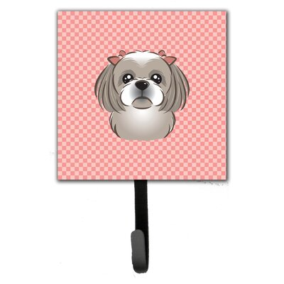 Checkerboard Gray Silver Shih Tzu Leash Holder and Wall Hook