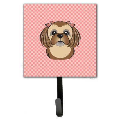 Checkerboard Chocolate Brown Shih Tzu Leash Holder and Wall Hook