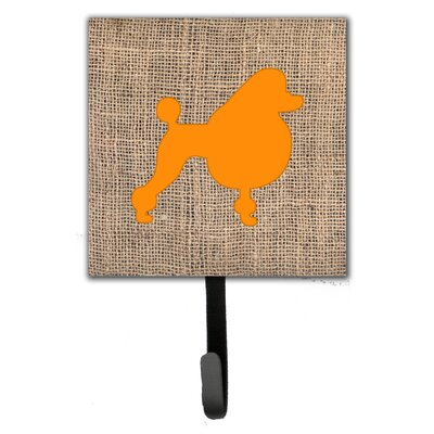 Poodle Burlap and Orange Leash Holder and Wall Hook