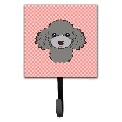 Checkerboard Silver Gray Poodle Leash Holder and Wall Hook
