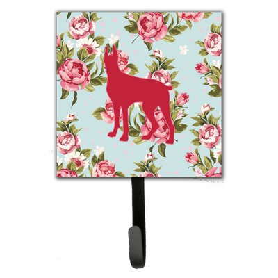 Great Dane Shabby Elegance Roses Leash Holder and Wall Hook