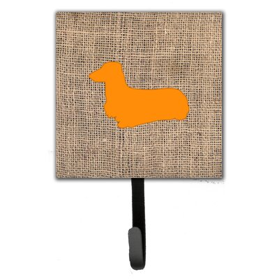 Dachshund Burlap and Orange Leash Holder and Wall Hook