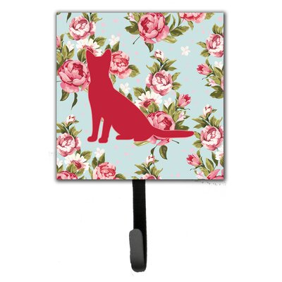 Cat Shabby Elegance Roses Leash Holder and Wall Hook