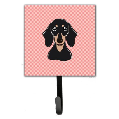 Checkerboard Smooth and Dachshund Leash Holder and Wall Hook