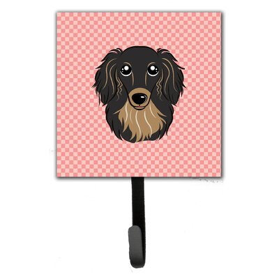 Checkerboard Longhair Dachshund Leash Holder and Wall Hook