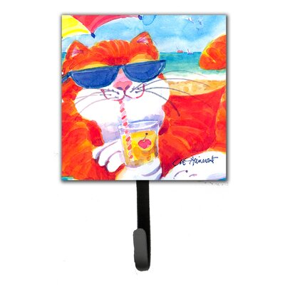 Cool Cat with Sunglasses at The Beach Leash Holder and Wall Hook