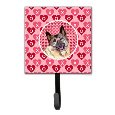 Norwegian Elkhound Valentine's Love and Hearts Leash Holder and Key Hook