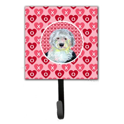 Old English Sheepdog Valentine's Love and Hearts Leash Holder and Key Hook