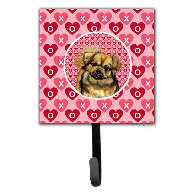 Tibetan Spaniel Valentine's Love and Hearts Leash Holder and Key Hook