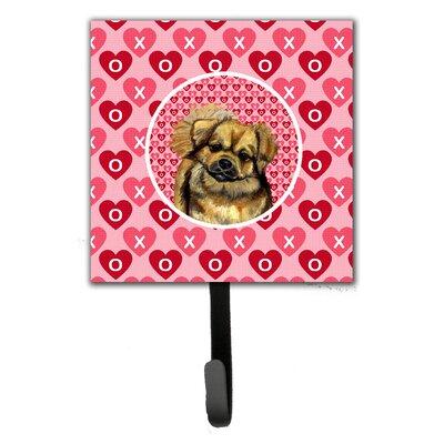 Tibetan Spaniel Valentine's Love and Hearts Leash Holder and Key Hook
