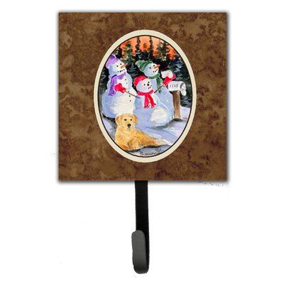 Snowman with Golden Retriever Leash Holder and Key Hook