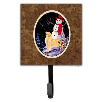 Golden Retriever with Snowman in Hat Wall Hook