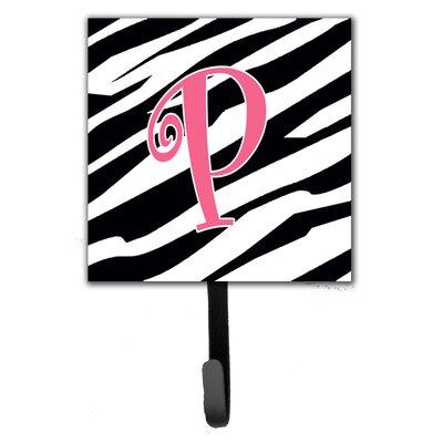 Monogram Zebra Stripe Wall Hook Letter: P
