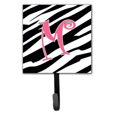 Monogram Zebra Stripe Wall Hook Letter: M