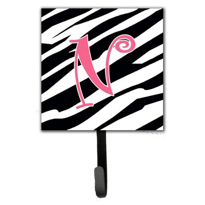 Monogram Zebra Stripe Wall Hook Letter: N