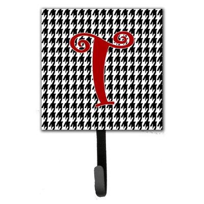 Monogram Houndstooth Wall Hook Letter: T