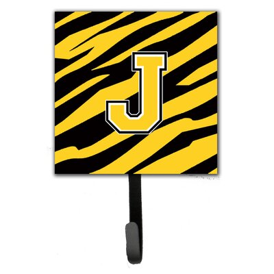 Monogram Tiger Stripe Wall Hook Letter: J
