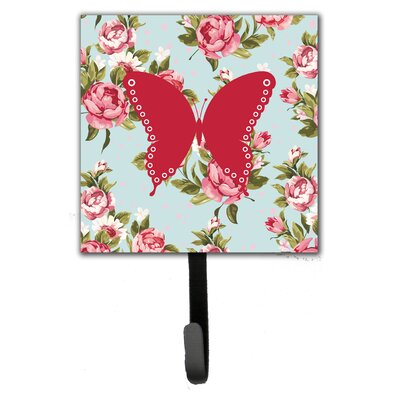 Butterfly Shabby Elegance Blue Roses Leash Holder and Wall Hook