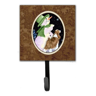 Snowman with Springer Spaniel Leash Holder and Wall Hook