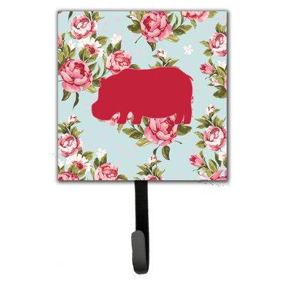 Hippopotamus Shabby Elegance Roses Wall Hook