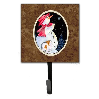 Snowman with Papillon Leash Holder and Wall Hook