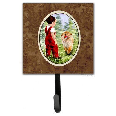 Little Boy with His Golden Retriever Leash Holder and Wall Hook