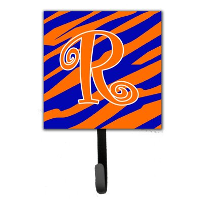 Tiger Stripe Leash Holder and Wall Hook Letter: R
