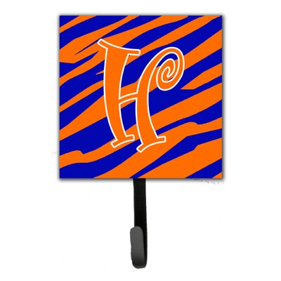 Tiger Stripe Leash Holder and Wall Hook Letter: H