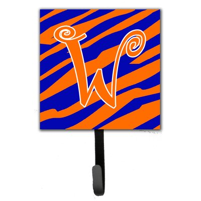 Tiger Stripe Leash Holder and Wall Hook Letter: W