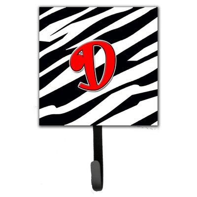 Monogram Zebra Leash Holder and Wall Hook Letter: D