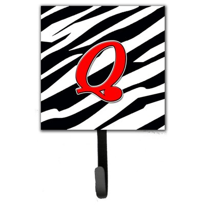 Monogram Zebra Leash Holder and Wall Hook Letter: Q