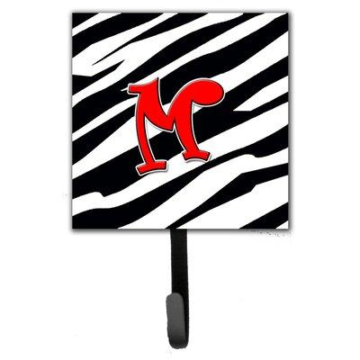 Monogram Zebra Leash Holder and Wall Hook Letter: M
