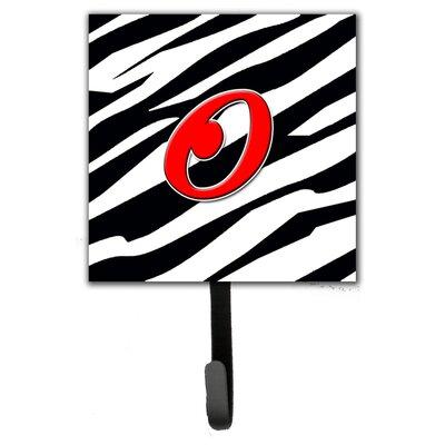 Monogram Zebra Leash Holder and Wall Hook Letter: O