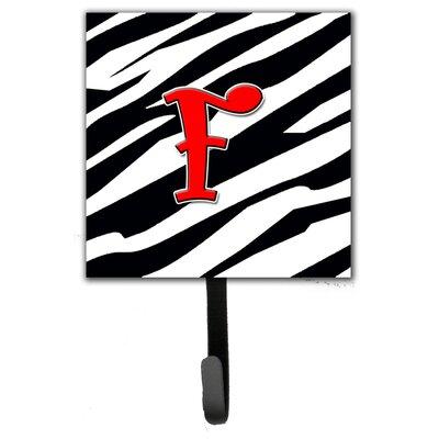 Monogram Zebra Leash Holder and Wall Hook Letter: F