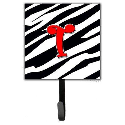 Monogram Zebra Leash Holder and Wall Hook Letter: T