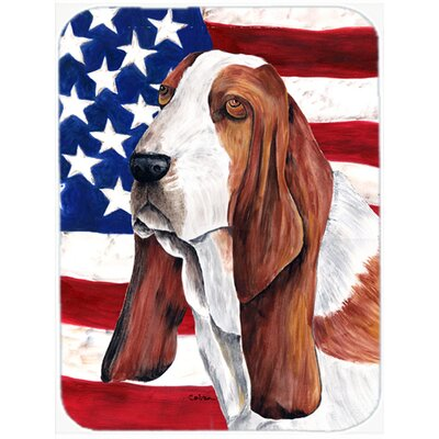 Patriotic USA American Flag with Basset Hound Glass Cutting Board
