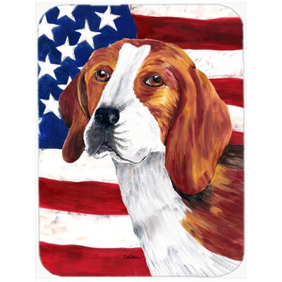 Patriotic USA American Flag with Beagle Glass Cutting Board