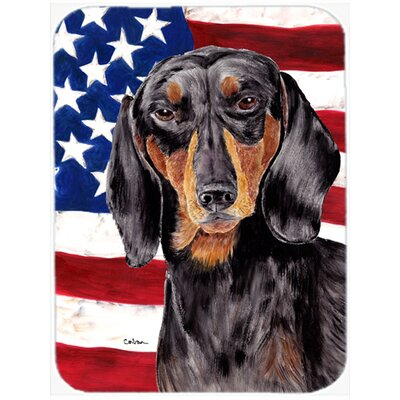 Patriotic USA American Flag with Dachshund Glass Cutting Board