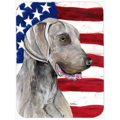 Patriotic USA American Flag with Weimaraner Glass Cutting Board