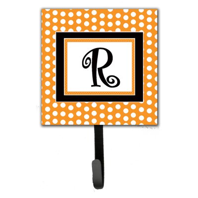 Monogram Polkadots Leash Holder and Wall Hook Letter: R