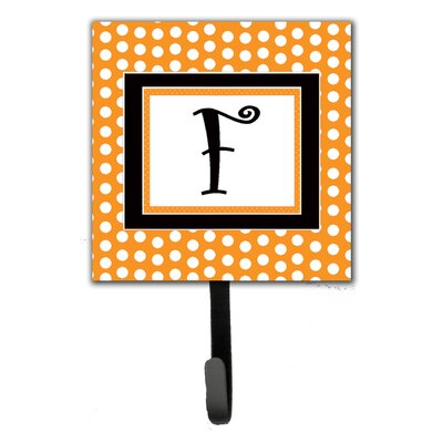 Monogram Polkadots Leash Holder and Wall Hook Letter: F