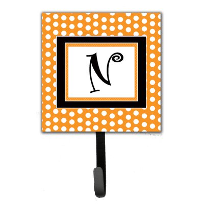 Monogram Polkadots Leash Holder and Wall Hook Letter: N