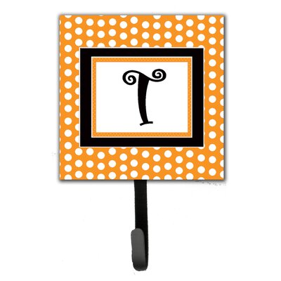 Monogram Polkadots Leash Holder and Wall Hook Letter: T