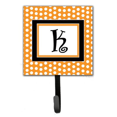Monogram Polkadots Leash Holder and Wall Hook Letter: K